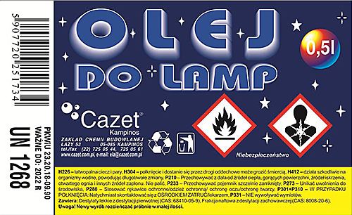 OLEJ  DO  LAMP PKWiU 23.20.18-09.90