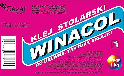 KLEJ WINACOL – do drewna, tektury i sklejki PKWiU 24.62.10-80.33
