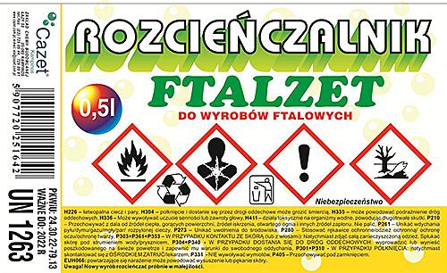 """ROZCIEŃCZALNIK """"FTALZET"""" PKWiU 24.30.22-79.13"""