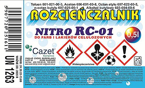 """ROZCIEŃCZALNIK  """"NITRO"""" RC – 01 PKWiU 24.30.22-73.00"""